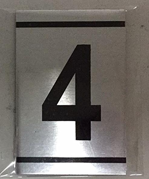 NUMBER  Signage -4 -BRUSHED ALUMINUM