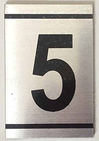 NUMBER  Signage -5 -BRUSHED ALUMINUM