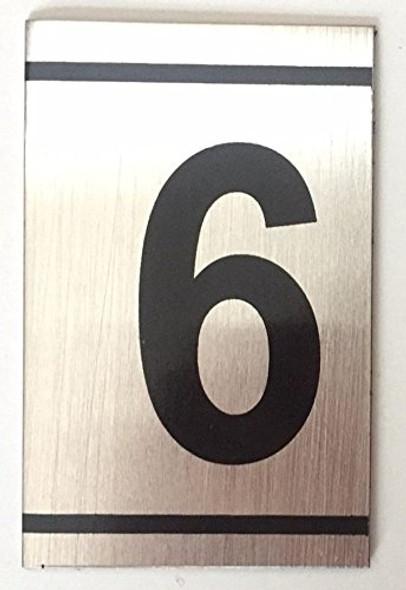 NUMBER  Signage -6 -BRUSHED ALUMINUM