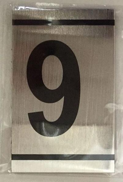 NUMBER  Signage -9-BRUSHED ALUMINUM