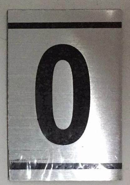 NUMBER  Signage -0-BRUSHED ALUMINUM