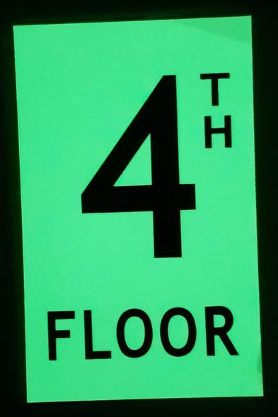 """Floor number 4  Signage HEAVY DUTY / GLOW IN THE DARK """"FLOOR"""