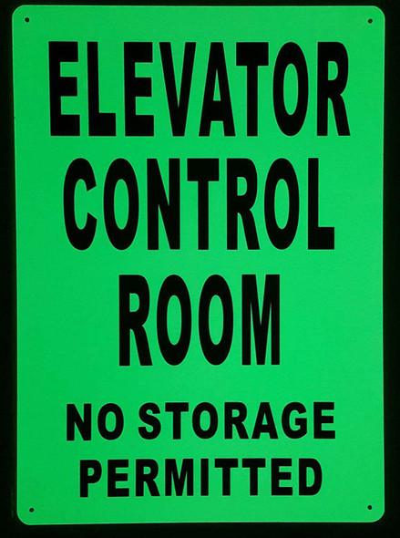 ELEVATOR CONTROL ROOM  Signage GLOW IN THE DARK