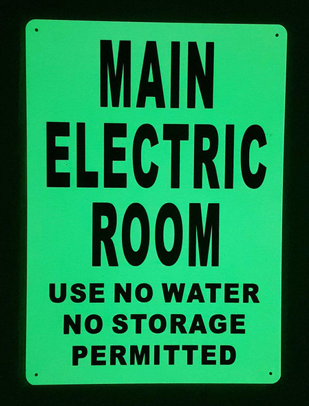 MAIN ELECTRIC ROOM  Signage GLOW IN THE DARK