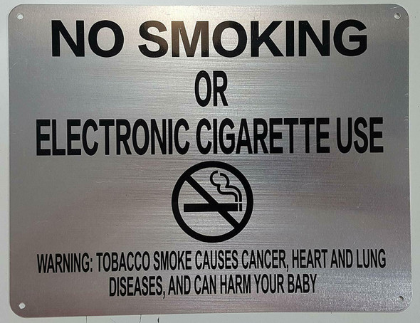 "NYC Smoke free Act  Signage ""No Smoking or Electric cigarette Use"" + Warning"