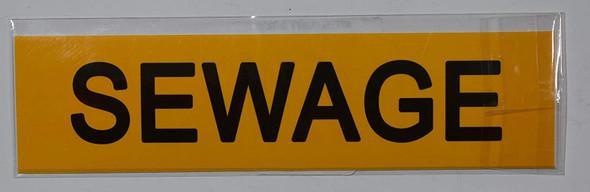 Set of 5 PCS - Pipe Marking- Sewage Label  Signage