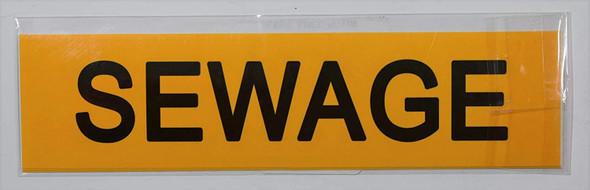 Set of 5 PCS - Pipe Marking- Sewage Label