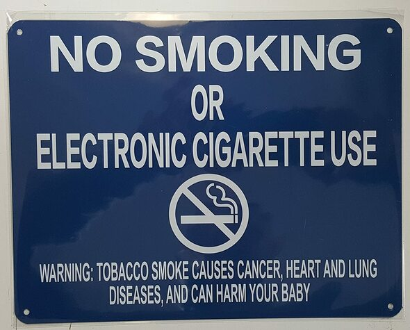 "NYC Smoke Free Act  Signage""No Smoking or Electric Cigarette Use"" + Warning"