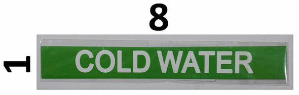 Set of 5 PCS - Pipe Marking- Cold Water Sign