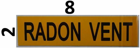 Set of 5 PCS - Pipe Marking- Radon Vent Sign