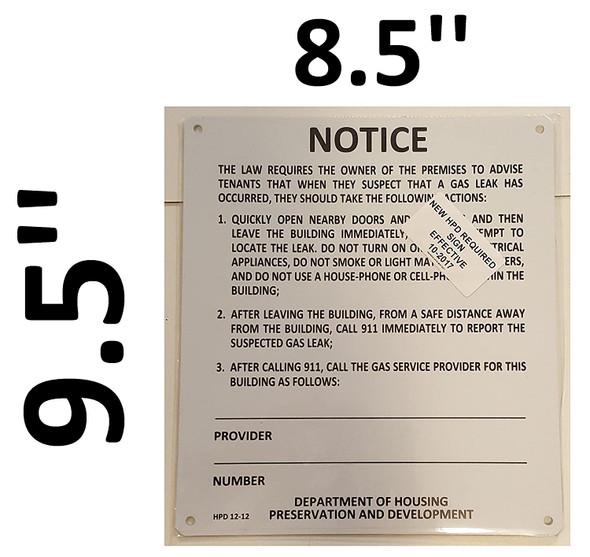 GAS LEAK NOTICE Sign