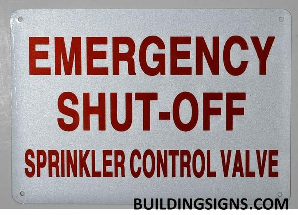Emergency Shut-Off, Sprinkler Control Valve  Signage