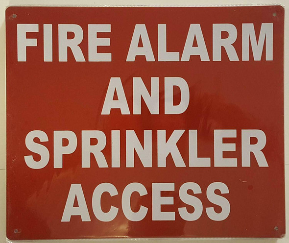 FIRE ALARM AND SPRINKLER ACCESS  Signage