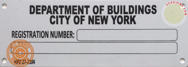 Building registration number sign blanco Line  Sign