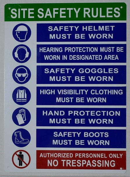 HPD Sign PPE HPD Sign - Site Safety Rules HPD Sign