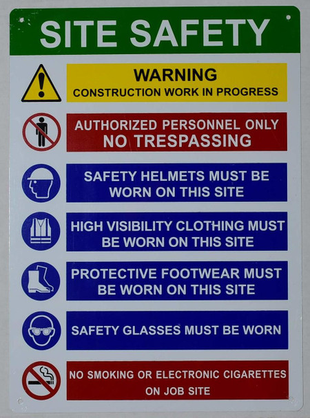 Site safety rule sign .
