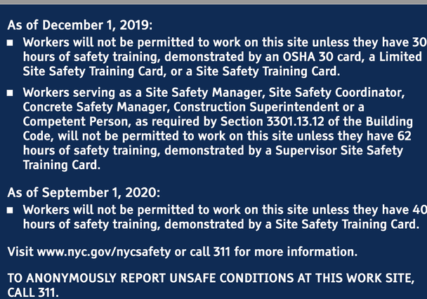OSHA 30-Hour DOB REQUIRED Construction SIGN