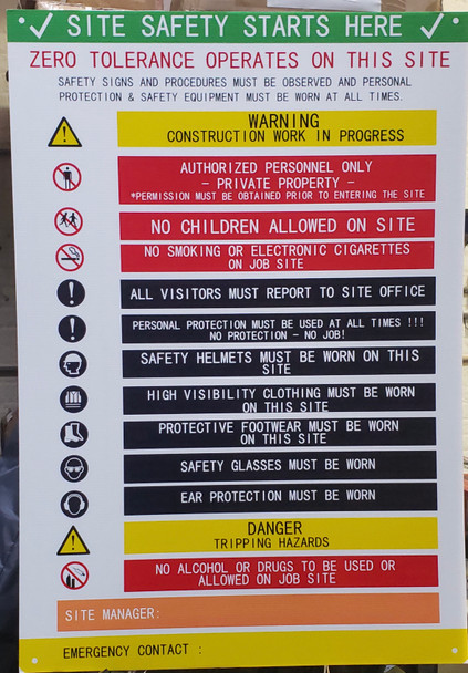 DOB SITE SAFETY RULES SIGN NYC