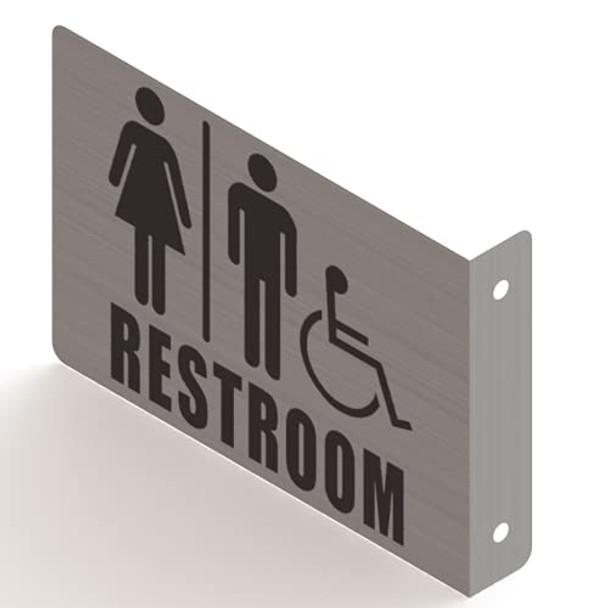 Restroom ACCESSABLE Projection Sign-ACCESSABLE Restroom 3D Sign Brush Aluminium,