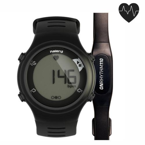 RUNNER'S HEART RATE MONITOR WATCH BLACK