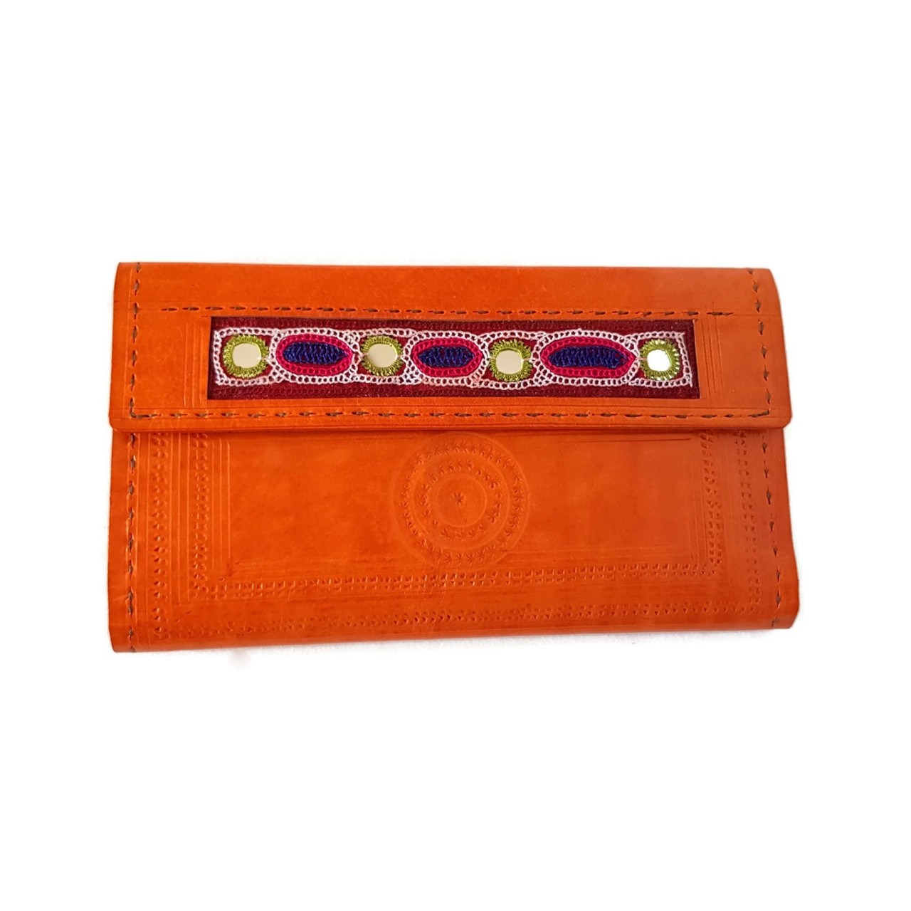 56f42ba94d Leather embroidered wallet Orange - Tarini