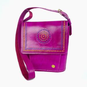 Fuchsia pink hand made leather bag