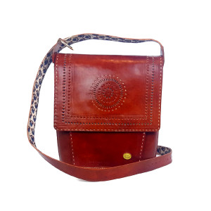 handtooled brown leather crossbody women