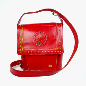 womens Red messenger hand tooled leather