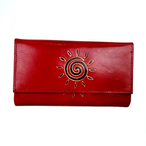 womens leather wallet Red sundial