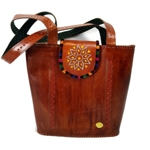 Leather Tote with Embroidery Brown