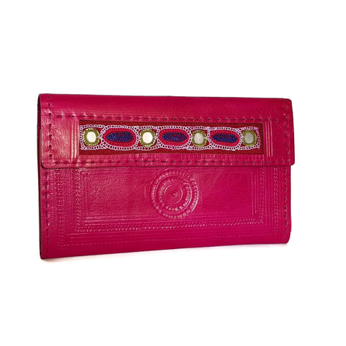 Leather embroidered wallet Pink