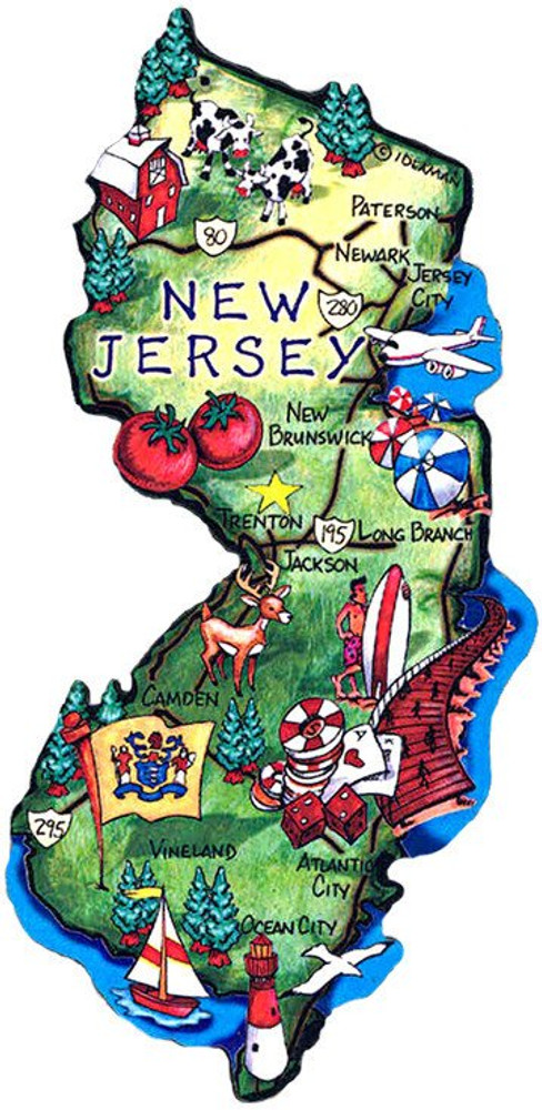 Large Artwood New Jersey Map Magnet