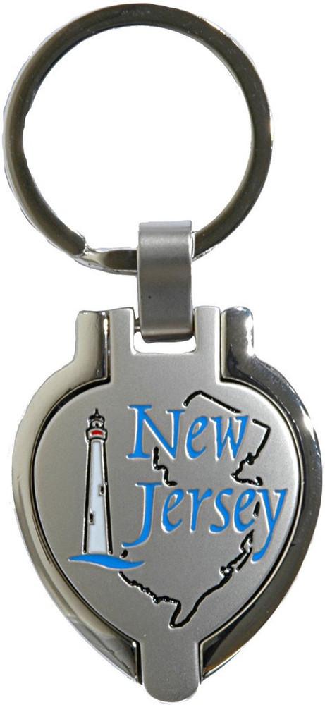 Pewter Locket New Jersey Key Ring