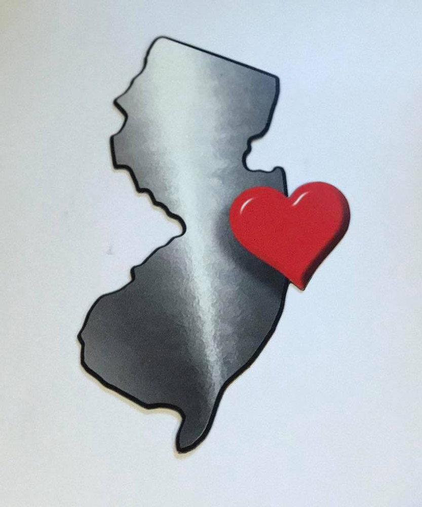 NJ State Heart Auto Magnet