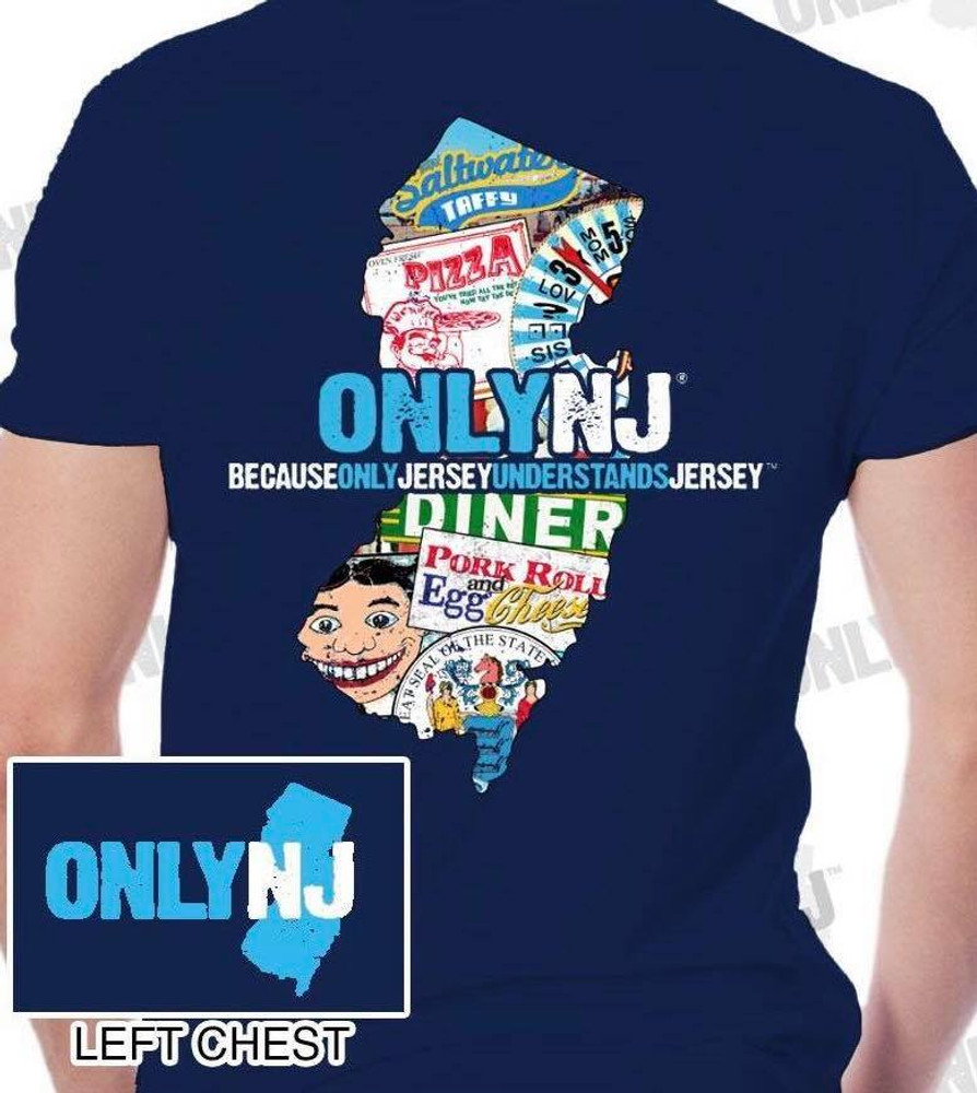 NJ state map t-shirt