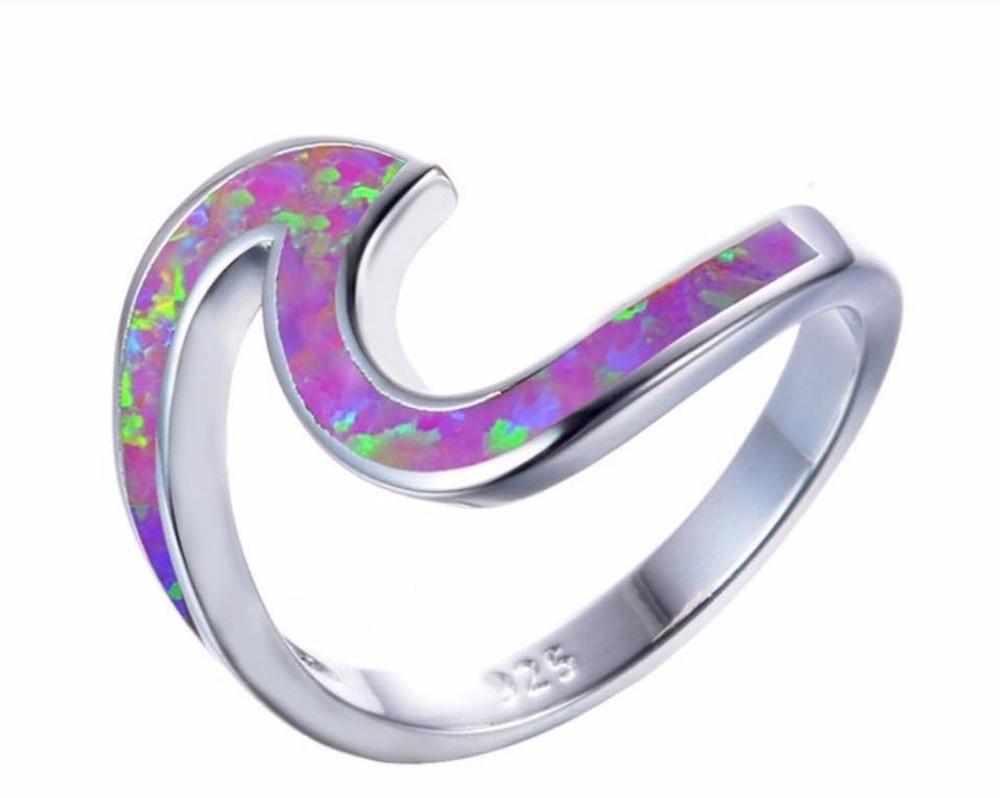 Purple Fire Opal Wave Ring
