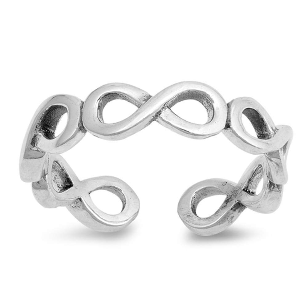 Sterling Silver Infinity Signs Toe Ring