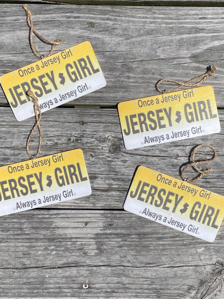 Handmade Jersey Girl License Plate Wood Ornament