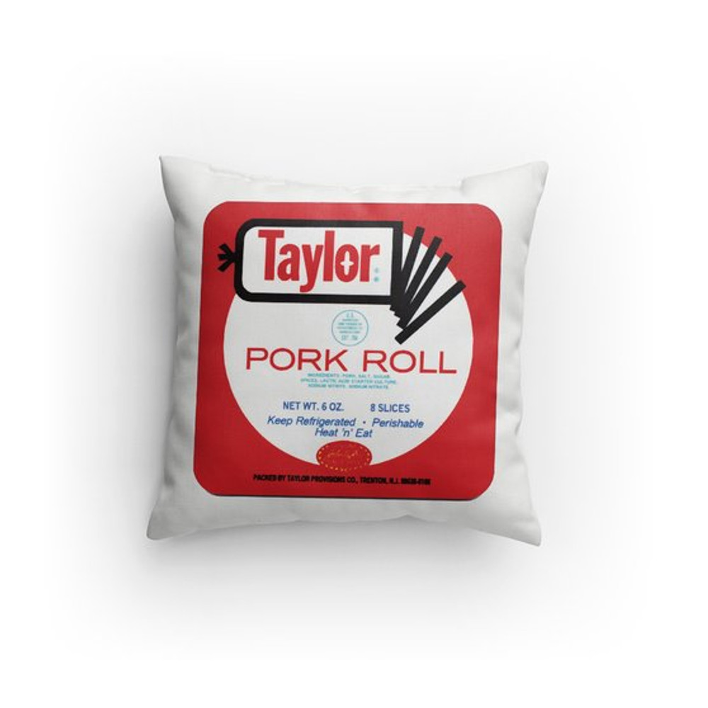 "Our Pork Roll Pillows have images on both sides and are made of 100% polyester inside and out. They are 14"" x 14"".  We recommend you just spot or dry clean it. The pillow comes with no zipper, so you won't be able to remove the cover and machine wash it."