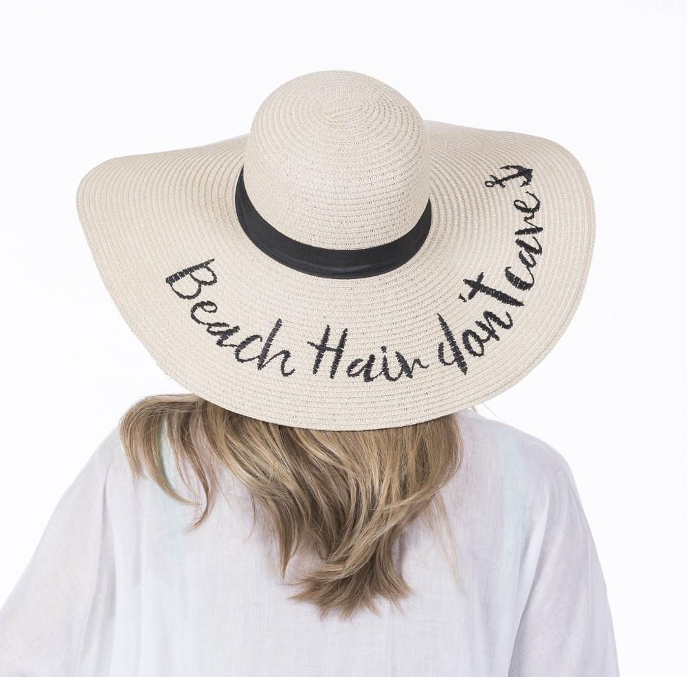 "Beach Hair Don't Care Sun Hat floppy oversized sun hat for women width measures 18"""