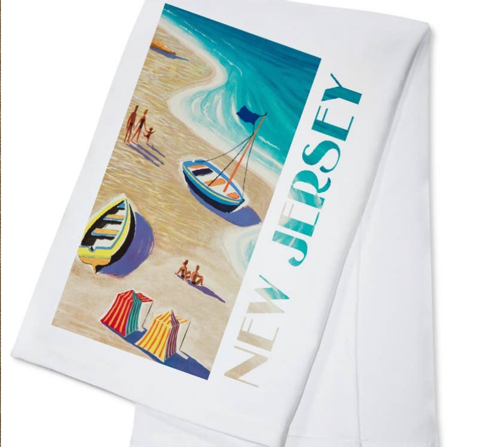 New Jersey Beach Scene Hand Towel
