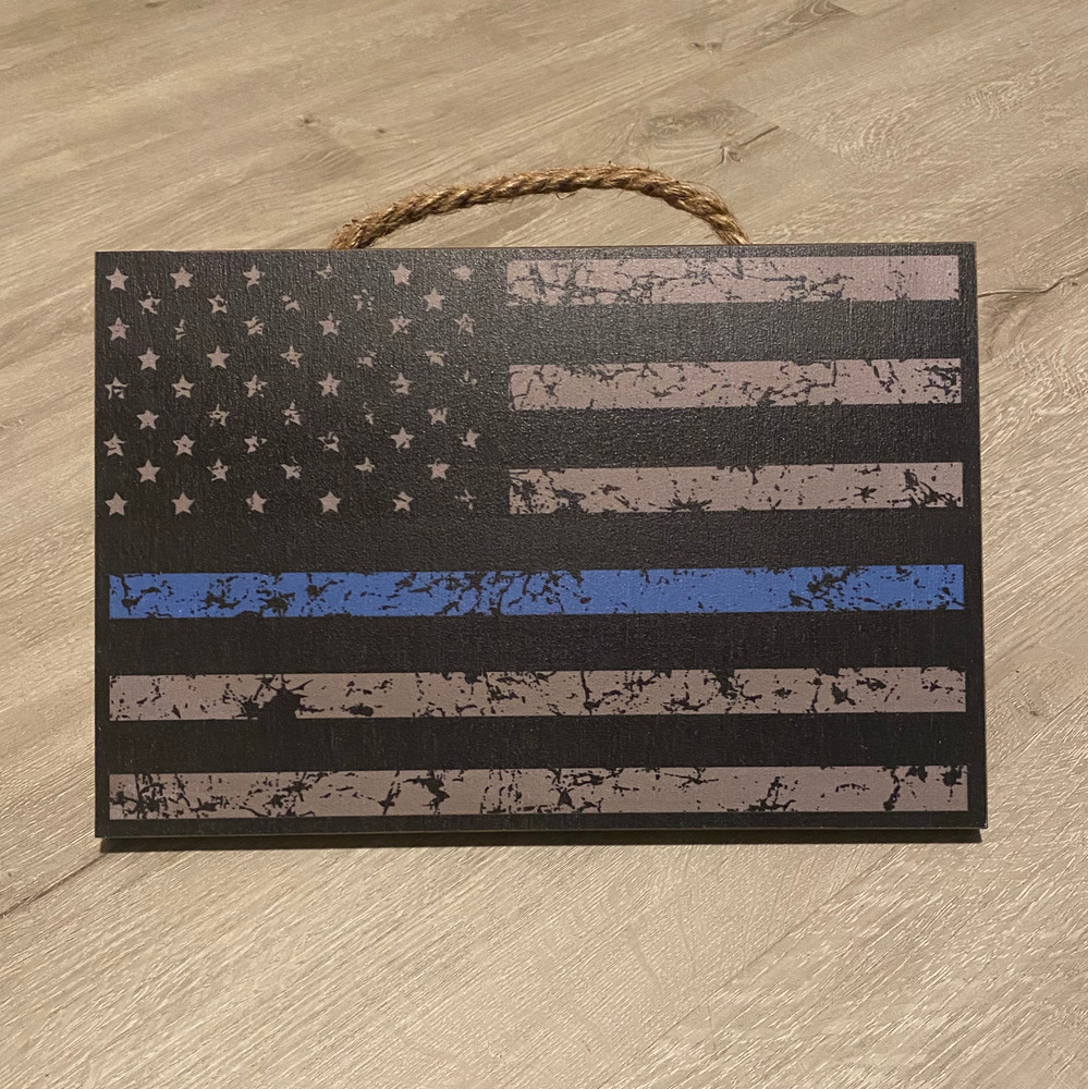 "USA Flag- Blue Line Wood Sign 8"" x 12"""