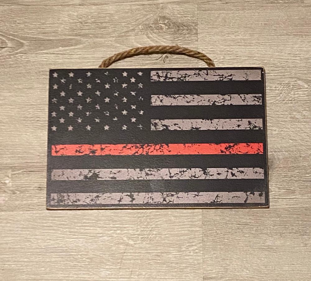"USA Flag- Red Line Wood Sign 8"" x 12"""