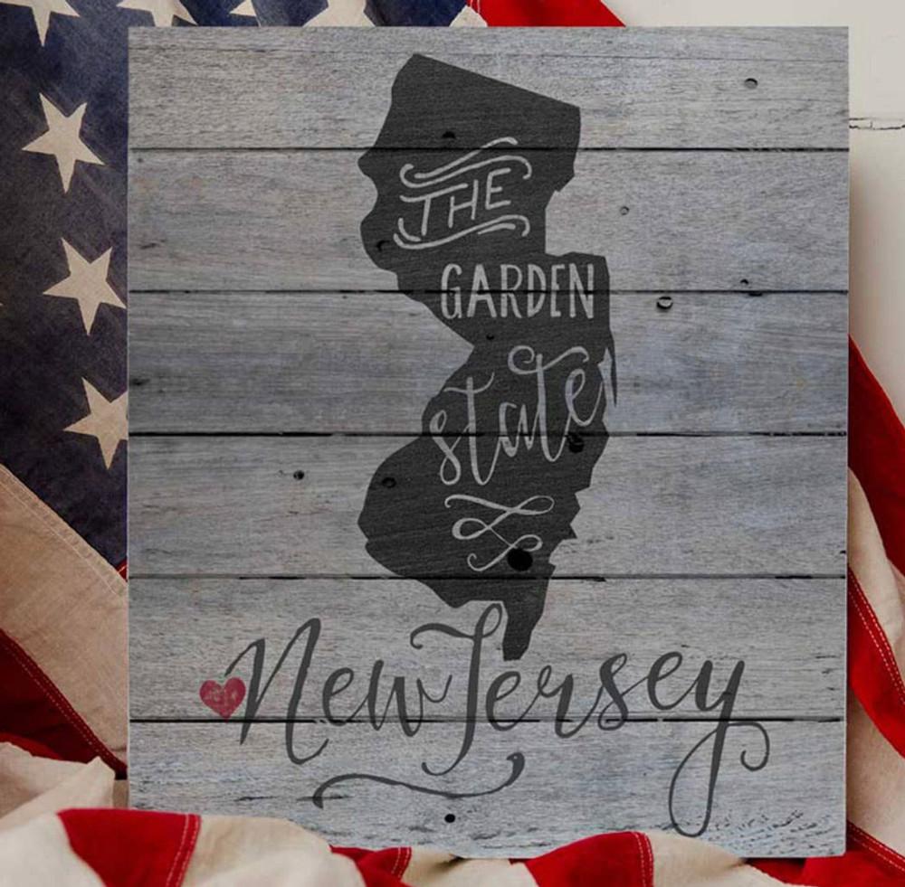 """12 x 13"""" State Slogan Weathered Slat Sign New Jersey"""