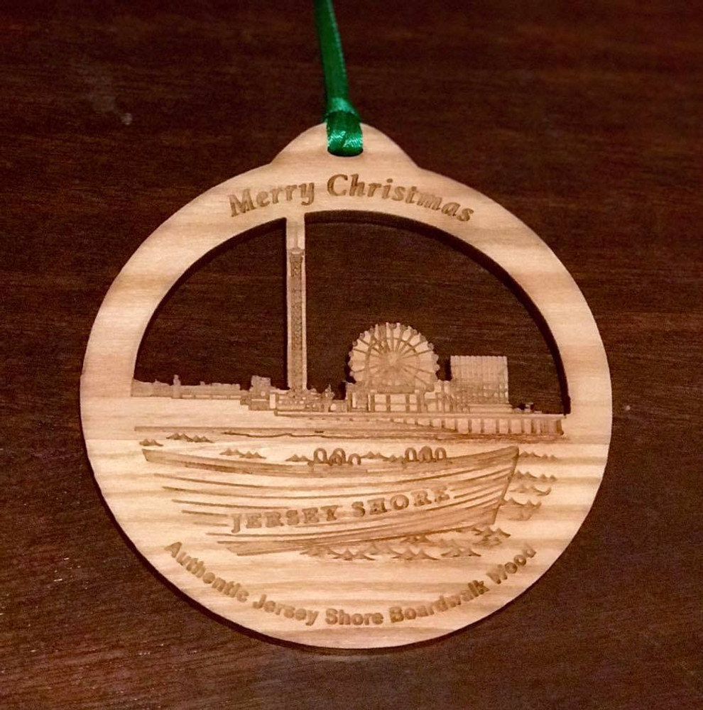 "Authentic Jersey Shore Boardwalk Wood Pier & Boat Ornament 4"""