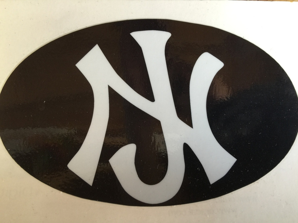 NJ Yankees Oval Sticker Or Magnet