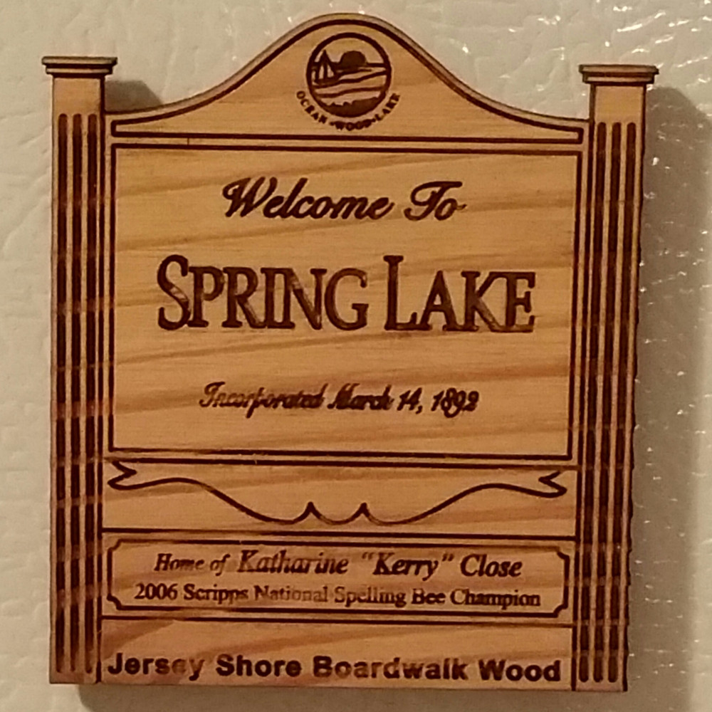 Welcome To Spring Lake Authentic Jersey Shore Boardwalk Wood Magnet
