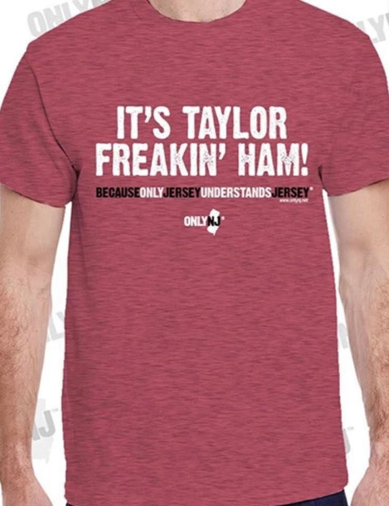 100% Cotton Heavyweight T-Shirt with High Quality Silk screened image for North Jersey where it is called Taylor Ham!