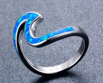 925 Sterling Silver Filled White Fire Opal Wave Rings Sizes 6-10