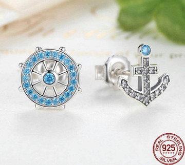 925 Sterling Silver Anchor Stud
